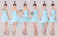Wholesale One Hand Wedding Dresses - New Beach Wedding Bridesmaid Dresses Mixed Styles Short or Knee Length For One Wedding Party Beaded Cheap Blush Chiffon Bridesmaid Dresses