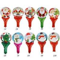ballon de bâton d'aluminium achat en gros de-Noël ballon main baguettes mignon dessin animé père noël bonhomme de neige ballon feuille d'aluminium enfants cadeaux cadeaux décoration