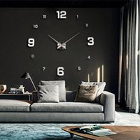 Wholesale Unique Wall Clocks - Wholesale- New Unique Fashion Large 3D DIY Wall Clock Gold Shine Mirror Stickers Design Home Decor Arts Hours Luxury Gifts Big Size -PF