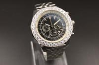 Wholesale Studded Glasses - 2017 AAA + high quality 1884 quartz chronograph diamond-studded bezel 48MM black large dial sapphire glass men's banquet luxury brand watch