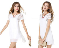 Wholesale Ml Lace Dress White - Elegant women vintage dress lady chiffon skirts panelled short lace sleeve back with 3 buttons design for summer wear ML-8030