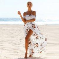 Wholesale Casual Beachwear For Women - Flora Printed Beach Dresses Maxi Sexy Split Chest Strap Bohemia Beach Dress for Women Summer Boho Beachwear bh33