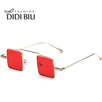Wholesale Vintage Small Framed Mirror - DIDI Yellow Red Vintage Small Square Sunglasses Women Men Fashion Steampunk Gothic Decorated Glasss Mirror Reflective Metal Thin Frame W756