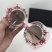 Wholesale Studded Glasses - 2017 Luxury Designer Womens Studded Diamond Oversized Sunglasses Special Design Round Lens Sunglasses Brand New with Case Box