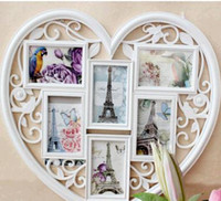"Wholesale White Photo Box Frames - 62*53cm 6 box 6""Heart shape frame bearing joint creative photo composition conjoined box ou hang a wall"