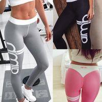 Wholesale Plus Size Workout Pants - 2017 Plus Size Push-Up Fitness Sporting Leggings Gothic Print High Waist Elastic Pants Workout Leggings Women Trouser