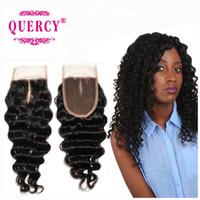 Wholesale Handtied Brazilian Hair - Brazilian lace closure 9A 100% virgin remy human hair silk closure 3.5*4inch deep wave handtied top closure 10-16inch dyeable Quercy Closure