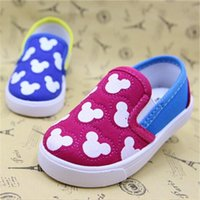 Wholesale Cartoon Shoes For Toddlers - Koovan Baby Sneakers 2017 Children's Boys Girls Baby Canvas Shoes Cartoon Mouse Soft Board Loafers First Walker Toddler Shoes For 2-4years