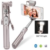 selfie stick bluetooth construido al por mayor-Selfie Stick, Hanshi Selfie-Portrait Monopod con obturador Bluetooth incorporado, retrovisor y luz de relleno LED de 360 grados, soporte IOS y Andro