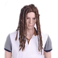 ingrosso parrucca maschile nero-ZF The Black African Wig Dreadlocks Parrucca intrecciata per uomo nero Cosplay per Halloween Party Export Pirce economico all'ingrosso