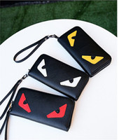 Wholesale Fashionable Credit Card Holders - 2017 New Arrival Hot Selling PU Leather Monster Heart Eyes Women Long Wallet Fashionable Elegant High Quality