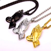Wholesale Black Praying Hands - The Praying Hands Pendants & Necklaces Brother Gift Black Gold Color Stainless Steel Men Chain Jewelry Bijoux P927