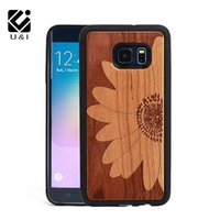 Wholesale Wood Pattern For Carving - 2017 Laser Engrave For Samsung Galaxy S6 edge PLUS Wood Phone Case Cover Carved Wooden TPU Side PC Back Coque Camera Flower Pattern