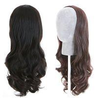 Wholesale Long Wavy Half Wigs - Fashion Wavy Human Hair Wigs Unprocessed Virgin Brazilian 3 4 Half Wigs Human Hair Body Wave None Lace Wigs for Black Women