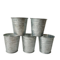 Wholesale Galvanized Garden Planters   Cheap Silvery Color Metal Planter  Small Galvanized Pot Garden Bucket Mini