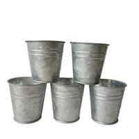 plantadores de jardim em metal venda por atacado-Frete grátis barato Cor Prateada Metal Plantador pequeno Galvanizado pote jardim balde Mini Viveiro Pote Jardim Suprimentos