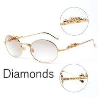Wholesale Sunglasses Retro Leopard - Gold retro round Diamond Sunglasses Brands for Women Men Luxury Three-dimensional Leopard Brand Designer sunglasses With Box CT638408282