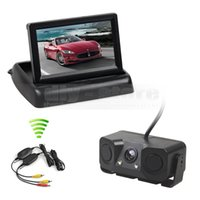 Wholesale car camera parking system monitor - Wireless 4.3inch Car Reversing Camera Kit Back Up Car Monitor Parking Radar Sensor 2 in 1 Car Camera Parking System