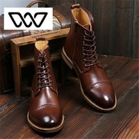 Men oxford style boots - NEW brand Men s Ankle Boots Luxury Quality Genuine Leather boots Men British Bullock Style boots Oxford Brogues Shoes