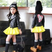 Wholesale Toddler Girls Coats Sale - Hot sale 2016 baby girls leather jacket autumn child toddler girl heart shape back PU jackets coat fashion designer outwear