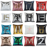Wholesale Wholesale Decorative Pillowcases - Hot 100pcs Sequin Mermaid Pillowcase Satin Pillowslip Double Color Sofa Sequins Cushion Decorative Pillow Cover IB089