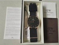 Wholesale Color Gift Boxes - 2017 top luxury brand dw Daniel Wellington watch fashion dw leather style 40 36mm rose gold mens dw watches with gift box relojes