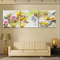Wholesale Floral Poetry - 3 Pieces Hot Sell Modern Wall Painting Home Decorative Art Picture Paint on Canvas Prints flower forest waterfall moon China Poetry