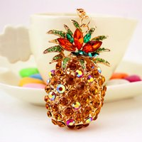 Wholesale Imitation Fruit - Wholesale Fashion Pineapple Fruit Keychain For Women Crystal Gem Luxury Jewelry Accessories 2017 New Arrival Good Quality