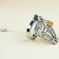 Wholesale Chastity Insert - Stainless Steel Chastity Cage with Hollow Removable Urethral Insert Tube Barbed Anti-off Ring Bondage Gear SM Bondage Hood Device FF927-2