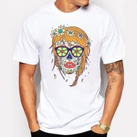 Wholesale girls skull print shirts - Camping & Hiking T-Shirts Men t shirt Summer Girl Flower Sugar Skull Head Printed funny 3d T shirt Cool Top Novelty tee shirt homme