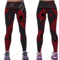 batman pantolonu toptan satış-Kırmızı Harleen Quinzel Güç Flex Yoga Tayt Batman Harley Quinn Spor Salonu Egzersiz Koşu Tayt Seksi Ince Sıska Pantolon Kadın