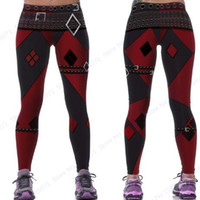 Wholesale Sexy Black White Leggings - Red Harleen Quinzel Power Flex Yoga Leggings Batman Harley Quinn Fitness Gym Workout Running Tights Sexy Slim Skinny Pants Woman