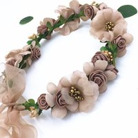 Lady Girls Bride Imitation Flower Headband Floral Head Wreath Femmes Beach Headband Floral Hair Garlands Bohemia Beach Flower HairBands BD043
