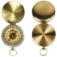 Wholesale Pocket Watch Displays - Outdoor Camping Hiking Portable Brass Pocket Watch Style Golden Double Display Compass Navigation for Free Shipping