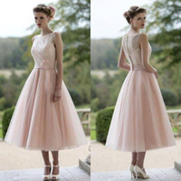 Wholesale Modest Bateau Bridesmaid Gown - 2016 New Cheap Pink Bridesmaid Dresses Bateau Lace A Line Tea Length Modest Plus Size Summer Maid of Honor Party Prom Gowns 2015
