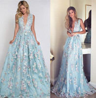 Wholesale Cheap Floral Prom Dresses - 3D Floral Flowers Fairy Evening Dresses Sheer Back With Appliques Exquisite Sleeveless Party Cocktail Gowns Custom Made Cheap Prom Dress