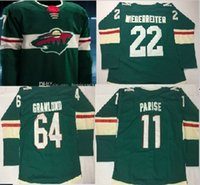 Wholesale Number 22 - Minnesota Wild Jersey 2018 new Season Wild jersey 11 Parise 64 Granlund 22 Niederreiter Custom Any Name Any Numbers Hockey Jerseys