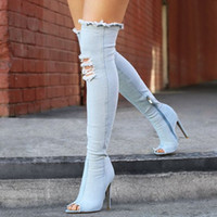 Wholesale Denim Over - 2017 denim blue over the knee boots woman sexy open toe thin high heels Ripped Distressed Jean thigh high boots for women
