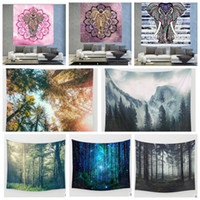 Wholesale 17 Hanging - India Hippie Tapestry Print Wall Hanging Mandala Beach Towel Elephant scenery Totem Beach Blankets Yoga Mat 130*148cm 17 design KKA1595