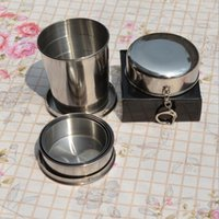 Wholesale Picnic Folding Cups - Portable Stainless Steel Folding Drinking Wine Cup Mug for Outdoor Travel Picnic Key Chain Collapsible Telescopic Cup 240ml CCA6382 50pcs