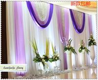 lavanda swag venda por atacado-Frete grátis / cortina de pano de fundo de casamento branco com lavanda swags 10ft altura e 20ft largura tecido de seda gelo palco decoração