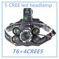 Wholesale Led Powered Batteries - 5 LED Headlight 15000 Lumens Cree XM-L T6 Head Lamp High Power LED Headlamp +2pcs 18650 Battery +Charger+car charger