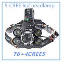 Wholesale led headlights - 5 LED Headlight Lumens Cree XM L T6 Head Lamp High Power LED Headlamp Battery Charger car charger