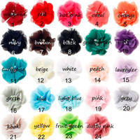 Wholesale Wholesale Rhinestones Artificial - 2017 24colors Chiffon Flowers With Pearl Rhinestone Center Artificial Flower Fabric Flowers Children Hair Accessories Baby Headbands Flower