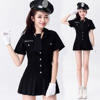 Wholesale Adult Women Dance Stage Costumes - Stage Costume Police Woman Cosplay Sexy Lingerie Night Club DS Jazz Dancing Uniform Adult Dress Women's Adult Games Costumes