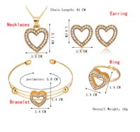 Wholesale Indian Jewellery Pendants Wholesale - african jewelry set Gold Plated fashion crystal Jewelry Set Gift Heart Jewelry Sets Kids Jewellery Ring Earring Bracelet Pendant Necklace