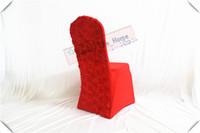 красные чехлы для сидений оптовых-Красный цвет 50шт спандекс чехлы на стулья / 3D атлас розетка стул / сиденья для свадьбы / банкетные и праздничные украшения
