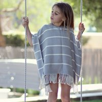 Wholesale Knitting Kids Ponchos - Girls Knitting Poncho Kids Clothing 2017 Autumn Striped Tassel Poncho Europe and America Fashion Loose Outwear HX-550