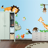 Wholesale pvc fashion Creative DIY wall sticker for child bedroom Carved Removable cute animal Lion Giraffe cartoon art Sticker Decor
