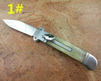 Wholesale Italy Models - 3 models Italy AKC 7.7 inch G.O.M Shell puller ox-horn antler handle pocket camping gift knife for man 1pcs